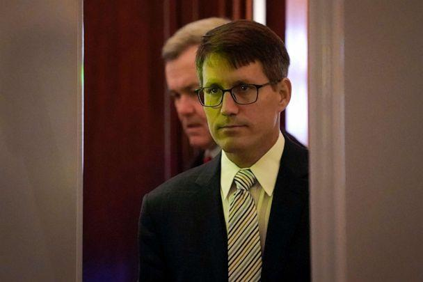 PHOTO: State Department career foreign service officer Christopher Anderson is illuminated by a green light as he goes through security screening at the Capitol to review transcripts of his previous interview, in Washington, D.C., Nov. 7, 2019. (J. Scott Applewhite/AP, FILE)
