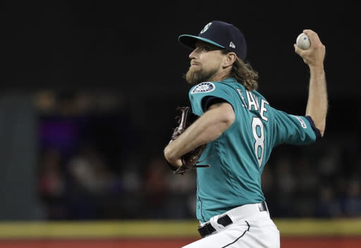 Seattle Mariners starting pitcher Mike Leake throws to a Los Angeles Angels batter during the seventh inning of a baseball game Friday, July 19, 2019, in Seattle. (AP Photo/Ted S. Warren)