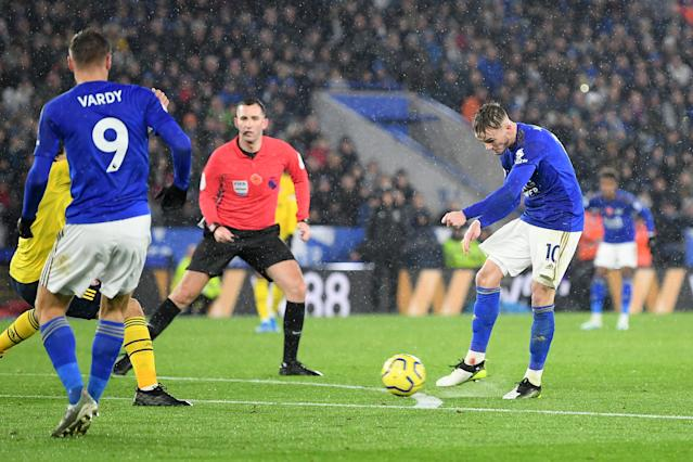 James Maddison fires home Leicester's second goal. (Photo by Michael Regan/Getty Images)