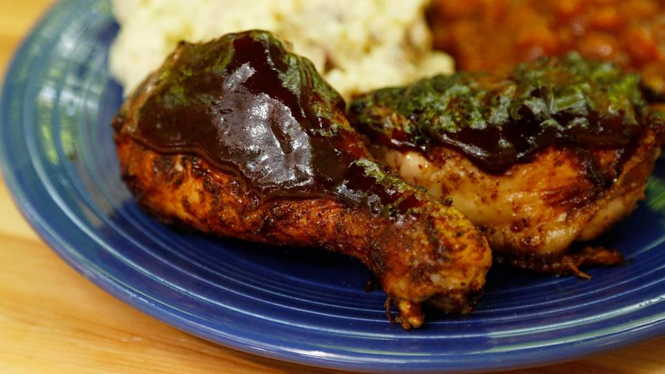 """<p><a href=""""https://www.myrecipes.com/t/chicken/chicken-thighs"""" rel=""""nofollow noopener"""" target=""""_blank"""" data-ylk=""""slk:Thighs"""" class=""""link rapid-noclick-resp"""">Thighs</a> and drumsticks are often cheaper than breasts, making this a budget-friendly barbecue choice. The spice rub is a mixture of spices <a href=""""https://www.myrecipes.com/ingredients/essential-spices-and-seasonings"""" rel=""""nofollow noopener"""" target=""""_blank"""" data-ylk=""""slk:you probably already have in your pantry"""" class=""""link rapid-noclick-resp"""">you probably already have in your pantry</a>.</p>"""