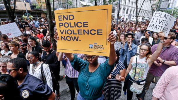 PHOTO: Protestors rally in front of the Allegheny County Courthouse June 21, 2018, in Pittsburgh for the killing of Antwon Rose Jr. (Keith Srakocic/AP)