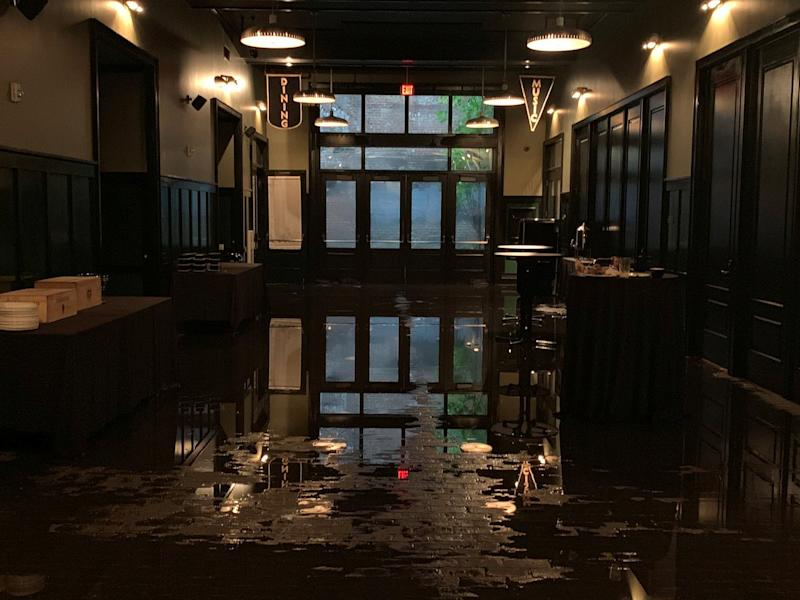 Flood water is seen inside Ace Hotel in New Orleans, Louisiana, July 10, 2019 in this image obtained from social media. (Photo: Brent Pearson/Reuters)