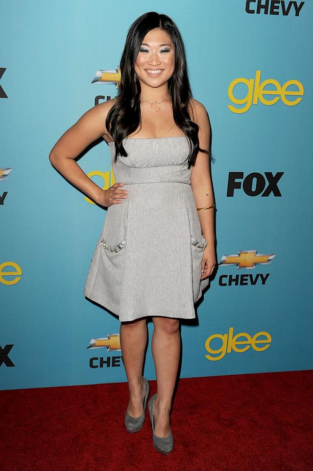 "<a href=""/jenna-ushkowitz/contributor/2427763"">Jenna Ushkowitz</a> (""Tina Cohen-Chang"") arrives at Fox's <a href=""/glee/show/44113"">""Glee""</a> Spring Premiere Soiree at Chateau Marmont on April 12, 2010 in Los Angeles, California."