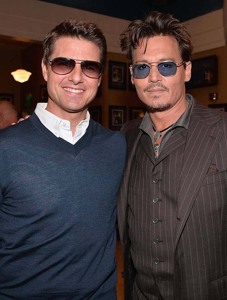 HOLLYWOOD, CA - JUNE 24:  Actors Tom Cruise and Johnny Depp attends Legendary Producer Jerry Bruckheimer Hollywood Walk of Fame Star Ceremony on the Hollywood Walk of Fame on June 24, 2012 in Hollywood, California.  (Photo by Alberto E. Rodriguez/WireImage)