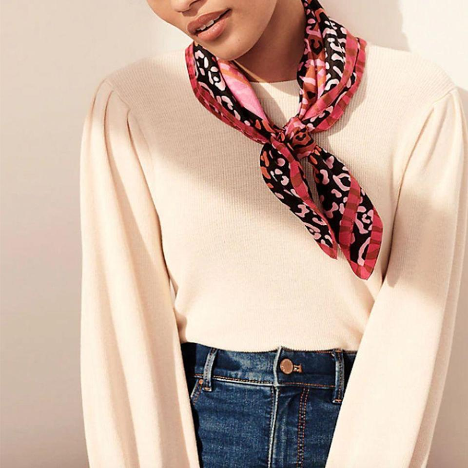 """<p><strong>Ann Taylor</strong></p><p>anntaylor.com</p><p><strong>$44.50</strong></p><p><a href=""""https://go.redirectingat.com?id=74968X1596630&url=https%3A%2F%2Fwww.anntaylor.com%2Flimited-edition-bcrf-silk-little-scarf%2F547248&sref=https%3A%2F%2Fwww.prevention.com%2Flife%2Fg34387434%2Fbreast-cancer-shirts-clothing%2F"""" rel=""""nofollow noopener"""" target=""""_blank"""" data-ylk=""""slk:SHOP NOW"""" class=""""link rapid-noclick-resp"""">SHOP NOW</a></p><p>Adding a scarf to a plain white tee and jeans is <em>so </em>trendy right now! And since it's made of 100% silk, it certainly ups the fashion ante. Wear it around your neck or pony tail for a pop of pink color. Ann Taylor will donate 50% of the proceeds from each purchase to BCRF.</p>"""