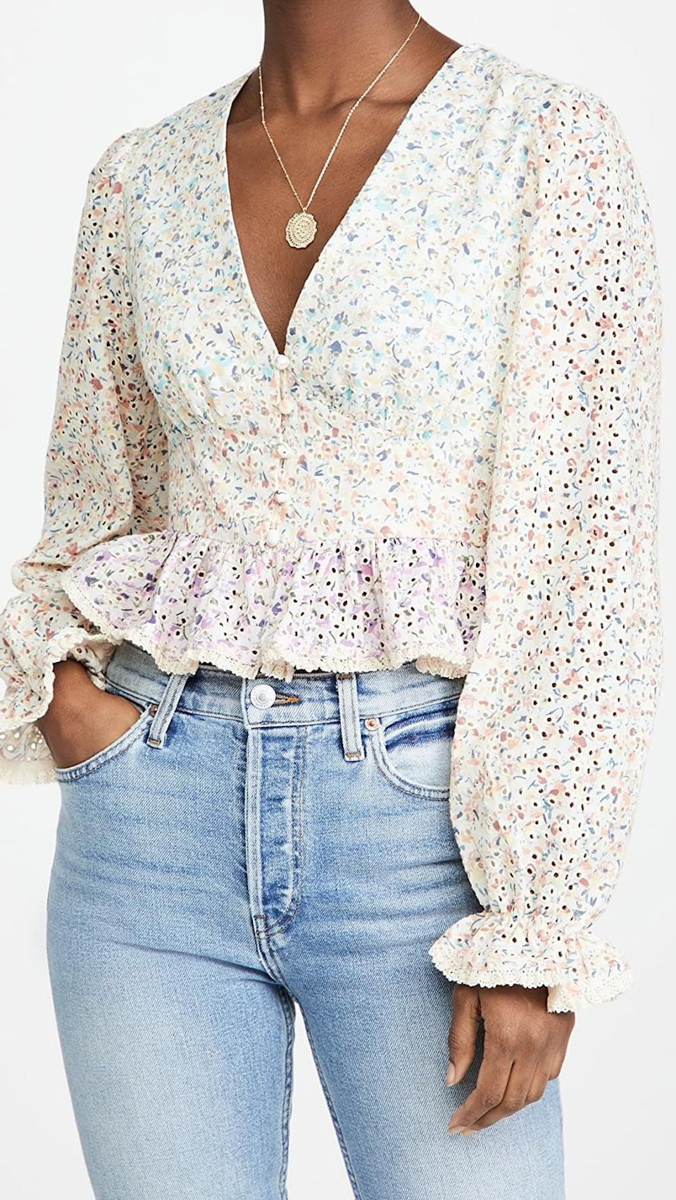 <p>Pair this <span>English Factory Multi Color V-Neck Blouse</span> ($110) with your favorite jeans.</p>