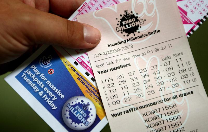 A general view of a EuroMillions lottery ticket for tonight's draw.