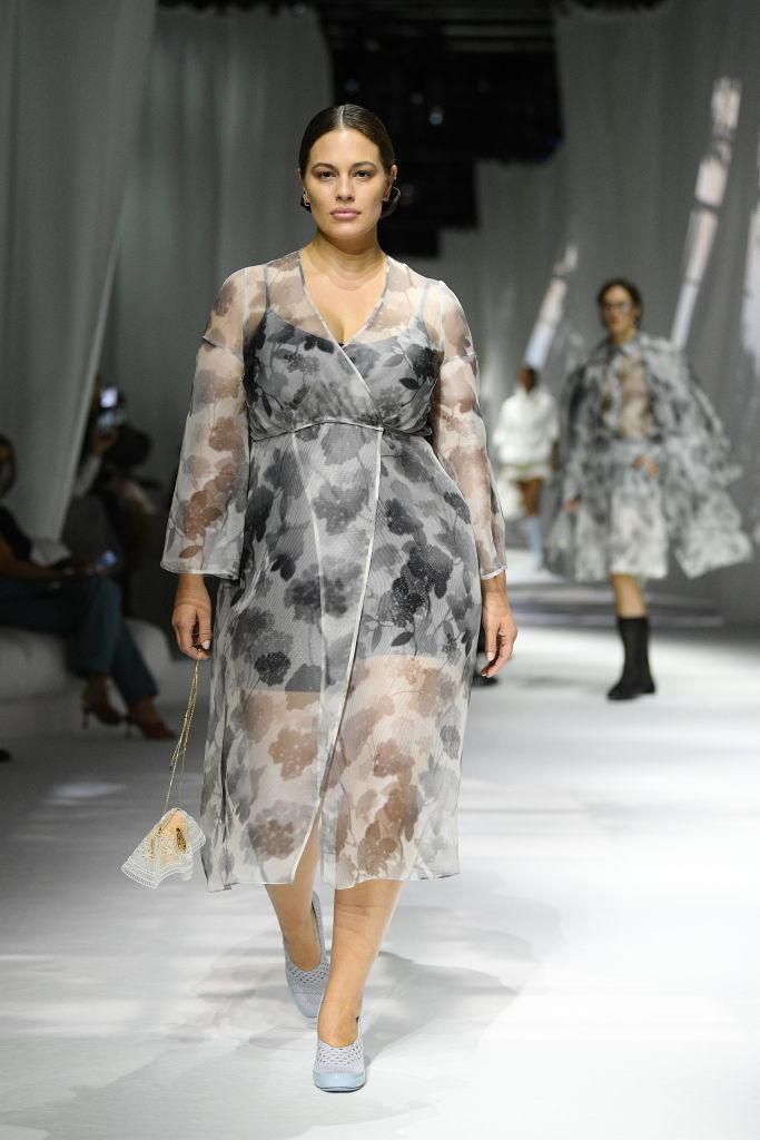 Ashley Graham returned to the runway at Milan Fashion Week Spring/Summer 2021 after her maternity leave. (Getty Images)