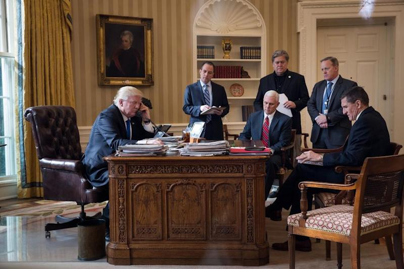 Donald Trump, Reince Priebus, Steve Bannon, Sean Spicer and Mike Flynn