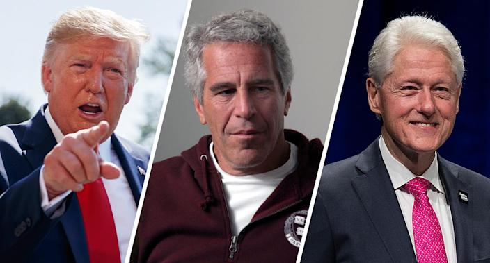 President Trump, Jeffrey Epstein, former President Bill Clinton. (Photos: Evan Vucci/AP, Rick Friedman Photography/Corbis via Getty Images, Andrew Chin/Getty Images)