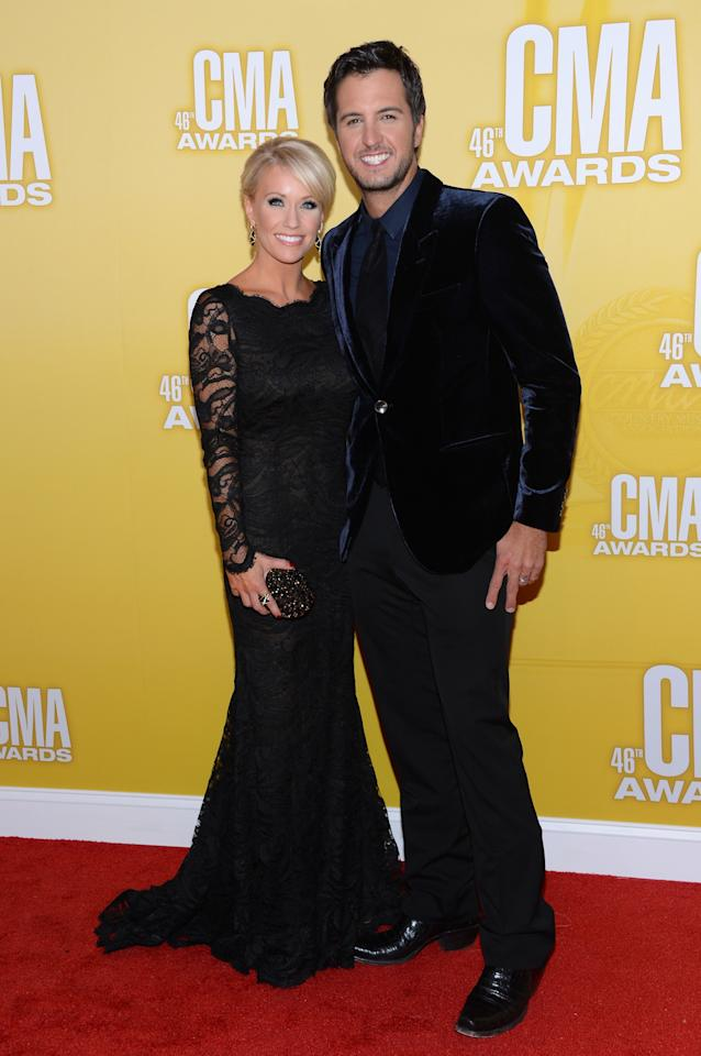NASHVILLE, TN - NOVEMBER 01:  Country music artist Luke Bryan (R) and Caroline Boyer attend the 46th annual CMA Awards at the Bridgestone Arena on November 1, 2012 in Nashville, Tennessee.  (Photo by Jason Kempin/Getty Images)