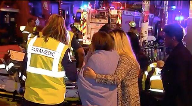 Revellers being treated outside the nightclub following the attack. Photo: 7 News