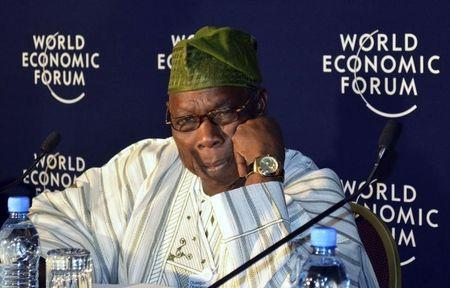 Former Nigerian President Obasanjo attends a World Economic Forum on Africa session in Ethiopia's capital Addis Ababa