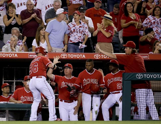 Los Angeles Angels' Kole Calhoun, left, is greeted in the dugout after scoring on a single by Efren Navarro against the Detroit Tigers during the sixth inning of a baseball game in Anaheim, Calif., Friday, July 25, 2014. (AP Photo/Chris Carlson)