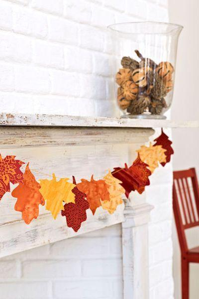"""<p>Try cutting leaves out of fabric in harvest hues for a fall-appropriate mantel. <br></p><p><a href=""""https://www.goodhousekeeping.com/home/craft-ideas/how-to/a16488/leaf-garland-craft/"""" rel=""""nofollow noopener"""" target=""""_blank"""" data-ylk=""""slk:Get the tutorial here »"""" class=""""link rapid-noclick-resp""""><em>Get the tutorial here »</em></a></p>"""
