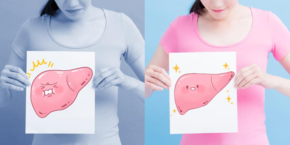 woman take liver billboard with health concept on the blue background