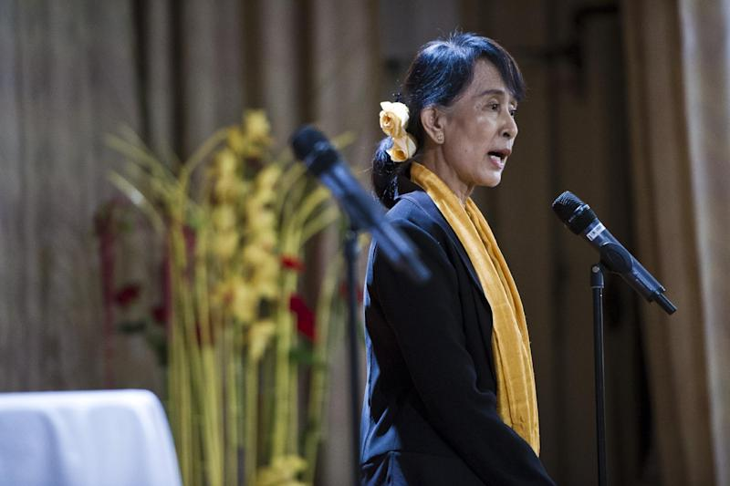 Aung San Suu Kyi meets the Burmese community in Bergen, Norway, Sunday, June 17, 2012. Myanmar opposition leader Aung San Suu Kyi said Saturday at a Nobel Prize lecture that the Nobel Peace Prize she won while under house arrest 21 years ago helped to shatter her sense of isolation and ensured that the world would demand democracy in her military-controlled homeland. (AP Photo/ Sean Meling Murray / NTB scanpix) NORWAY OUT