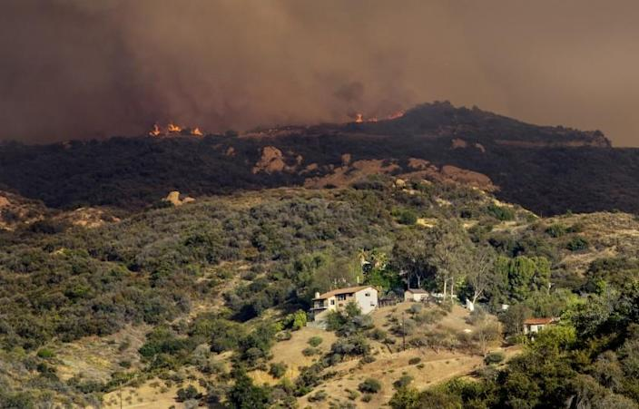 LOS ANGELES, CA - MAY 15, 2021: Flames shoot up from the Palisades wildfire in rugged terrain near homes above Topanga Canyon Boulevard on May 15, 2021 in Los Angeles, California.(Gina Ferazzi / Los Angeles Times)