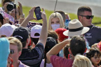 Ivanka Trump, daughter and adviser to President Donald Trump, wears a protective mask as she greets supporters along a rope line after a campaign event Tuesday, Oct. 27, 2020, in Sarasota, Fla. (AP Photo/Chris O'Meara)