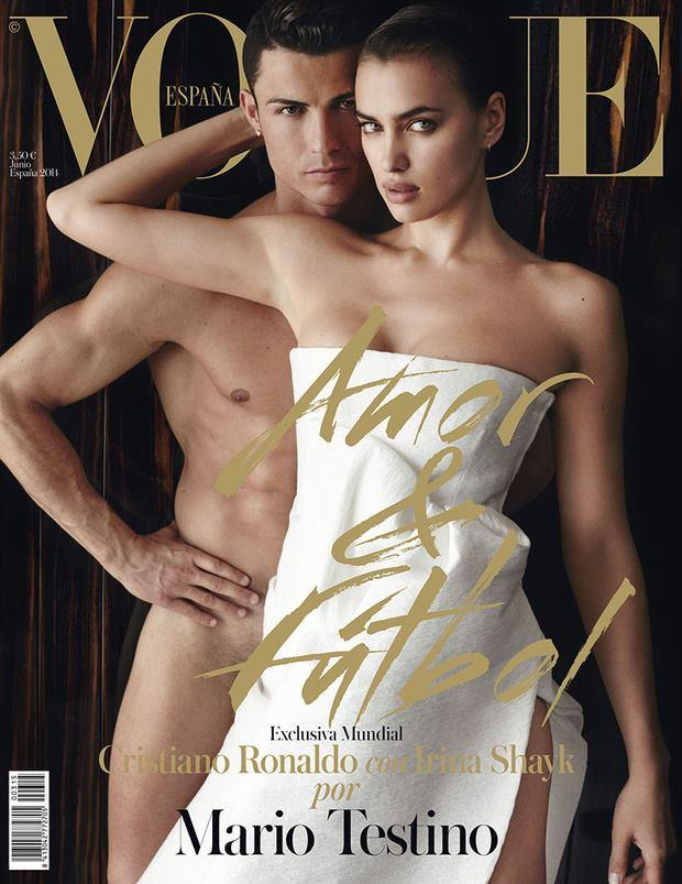 <p>While Russian model Irina kept her dignity in a white, strapless gown, her partner Cristiano Ronaldo took it all off in a 2014 edition of<em> Vogue Spain, </em>even showing a hint of pubic hair. There was definitely a lot of gym-honed flesh going on, with the duo appearing to be fused together in a mass of physical perfection. </p>