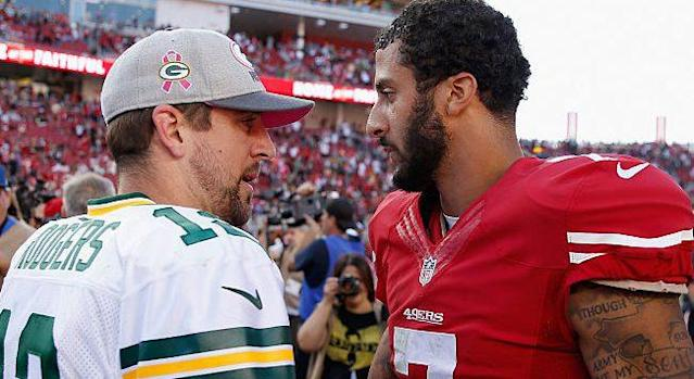 Don't expect to see Colin Kaepernick on the Green Bay sideline any time soon. (AP)