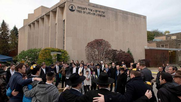 PHOTO: Members of the Jewish community gather in front of the Tree of Life Synagogue for the Shabbat on Friday evening, Nov. 2, 2018, in Pittsburgh's Squirrel Hill neighborhood. (Justin Merriman/The Washington Post/Getty Images, FILE)