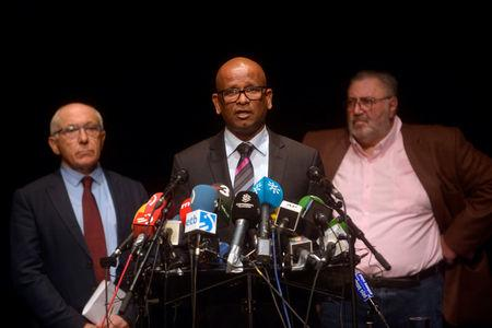 Ram Manikkalingam (C) of the International Verification Commission, announces confirmation of disarmament by Basque separatists ETA, alongside Mayor of Bayonne Jean Rene Etchegaray and Peace Artisan Mitchel Tuviana in Bayonne April 8, 2017. REUTERS/Vincent West