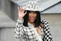"""All press has been good press for the raunchy """"WAP"""" from rapper Cardi B, shown here at Paris Fashion Week in 2019"""
