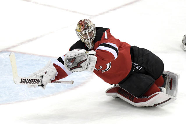 "<a class=""link rapid-noclick-resp"" href=""/nhl/players/5316/"" data-ylk=""slk:Keith Kinkaid"">Keith Kinkaid</a> has been solid between the pipes. (AP)"