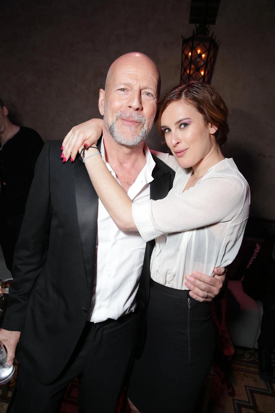 "Bruce Willis and Rumor Willis at the LA Premiere of ""G.I. Joe: Retaliation"" held at the TCL Chinese Theatre on Thursday, March 28, 2013 in Los Angeles. (Photo by Eric Charbonneau/Invision/AP)"