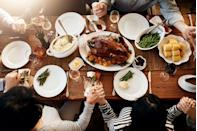 """<p>Before the big day, send around a guest list and ask everybody to share one thing they love or respect about each guest. Compile the compliments on <a href=""""https://www.oprahmag.com/life/g29464217/diy-thanksgiving-place-cards/"""" rel=""""nofollow noopener"""" target=""""_blank"""" data-ylk=""""slk:a place card"""" class=""""link rapid-noclick-resp"""">a place card</a> with each guest's name, so they'll sit to find a heartwarming list of anonymous appreciation.</p>"""