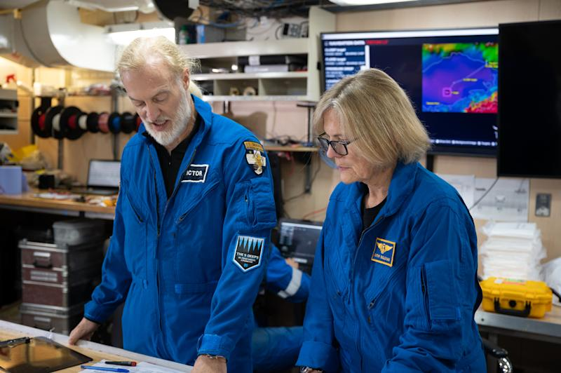 Dr. Kathy Sullivan and Victor Vescovo reviewing the plans before their dive to Challenger Deep. (Enrique Alvarez / EYOS Expeditions)