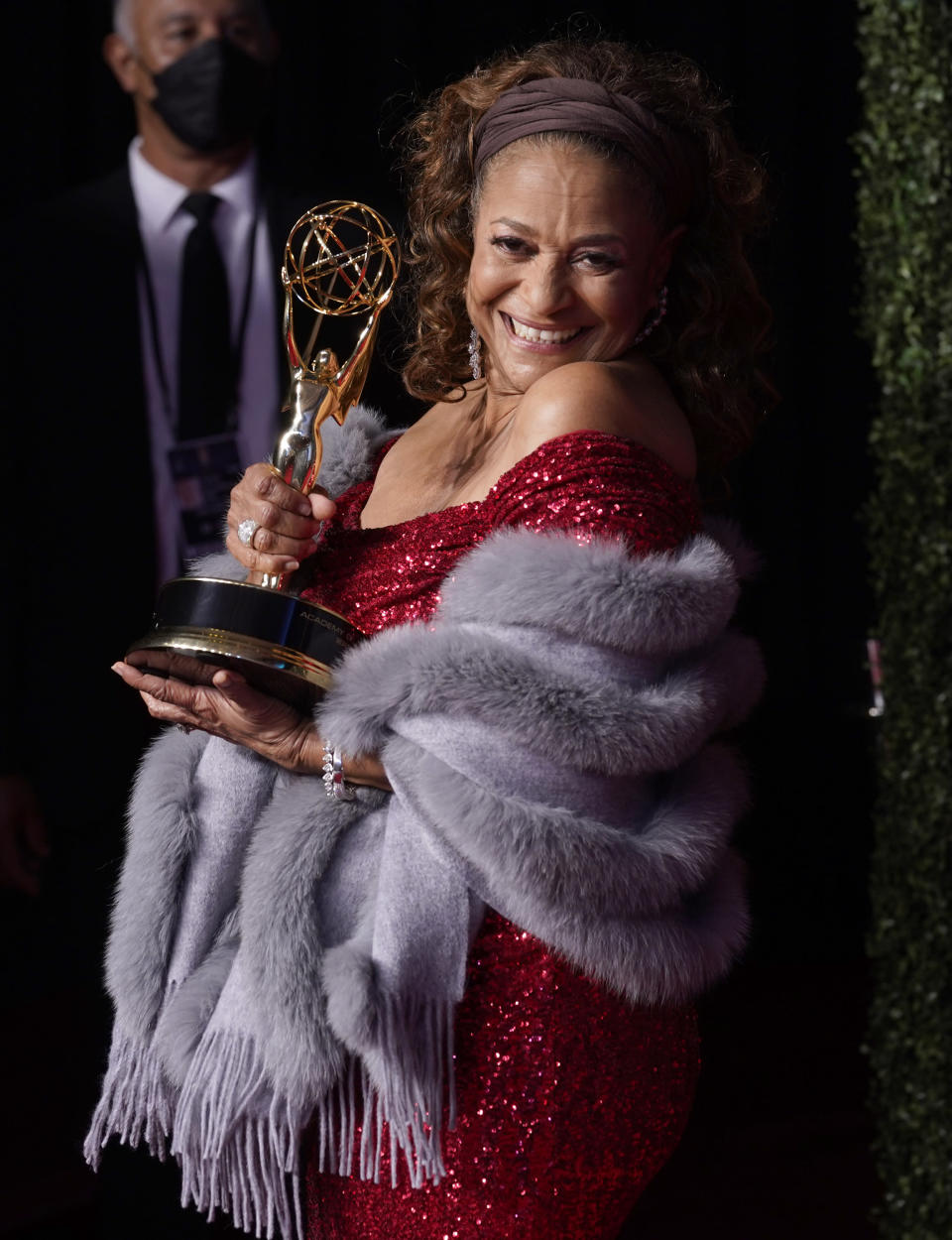 Debbie Allen, winner of the governors award, poses at the 73rd Primetime Emmy Awards on Sunday, Sept. 19, 2021, at L.A. Live in Los Angeles. (AP Photo/Chris Pizzello)