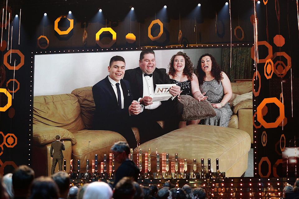 The Tapper Family from Gogglebox present the award for Multi Channel Award during the 2015 National Television Awards at the O2 Arena, London.