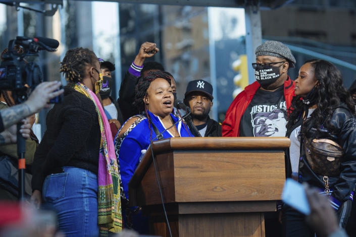 Tamika Palmer, mother of Breonna Taylor, at a rally in New York, Oct. 17. (Kevin Hagen/AP)