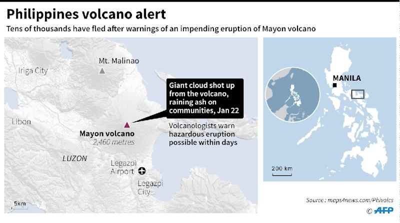 Map locating Mayon volcano in central Philippines. (AFP Photo/Laurence CHU)