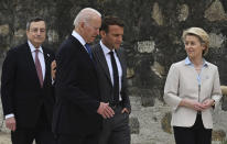 FILE - In this Friday, June 11, 2021 file photo, from left, Italian Prime Minister Mario Draghi, U.S. President Joe Biden, French President Emmanuel Macron and European Commission President Ursula von der Leyen walk together during the G7 Summit, in Carbis Bay, Cornwall, England. When U.S. President Joe Biden took office early this year, Western allies were falling over themselves to welcome and praise him and hail a new era in trans-Atlantic cooperation. The collapse of Kabul certainly put a stop to that. Even some of his biggest fans are now churning out criticism. (Leon Neal/Pool Photo via AP, File)