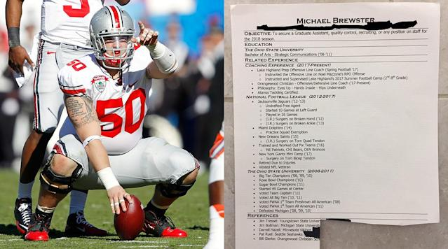 """<p>Until last month, I'd never called a phone number that I'd found on a men's room wall. Of course, none of the other numbers were attached to a résumé that included Jim Tressel as a reference.</p><p>Mike Brewster didn't originally plan on posting copies of his résumé on the wall above the urinals in the highest trafficked men's room at the American Football Coaches Association convention, but desperate times called for a little ingenuity. Brewster had carefully assembled résumé packets before traveling from Orlando to Charlotte, but he had quickly realized he had to scrap his original plan if he wanted to get his name in front of coaches who might hire him. A four-year starter at center for Ohio State who had spent all or part of four seasons on various NFL rosters, Brewster had been bitten by the coaching bug upon his retirement from football. He had spent the 2017 season working with the offensive line at Orlando's Orangewood Christian. Orangewood's head coach, Orlando prep legend Bill Gierke, had coached Brewster at Edgewater High. Brewster figured his next step was to try to land a graduate assistant job at the college level. So he took the GRE and devised a written presentation to hand to coaches at the convention.</p><p>But when Brewster walked into the Charlotte Convention Center, he realized he wasn't going to get the face time he'd hoped with FBS coaches. The place was crawling with thousands of coaches from every level, and nearly every one of them wanted to move up. Nobody was taking résumés. Instead, hundreds of them were pegged to bulletin boards in the hallways. Needless to say, Nick Saban and Clay Helton weren't perusing the board for candidates—in spite of the free Dos Equis coupons one enterprising quality control assistant had attached to <em>his</em> résumé. The few head coaches who did brave the convention center hallways always seemed to be on the phone or surrounded by coaches begging for a moment of their time. """"Well, there goes my plan on h"""