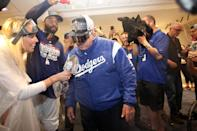 Tommy Lasorda celebrates after the game against the Colorado Rockies at Dodger Stadium on Monday, October 1, 2018 in Los Angeles, California. (Photo by Rob Letter/MLB Photos via Getty Images)