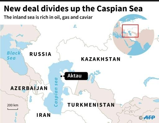 A map of the Caspian Sea locating Aktau, in Kazakhstan, where a deal was signed Sunday by surrounding countries which ends decades of dispute over the inland sea rich in oil, gas and caviar