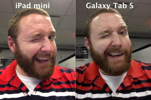 Selfies shot with iPad mini and Samsung Galaxy Tab S