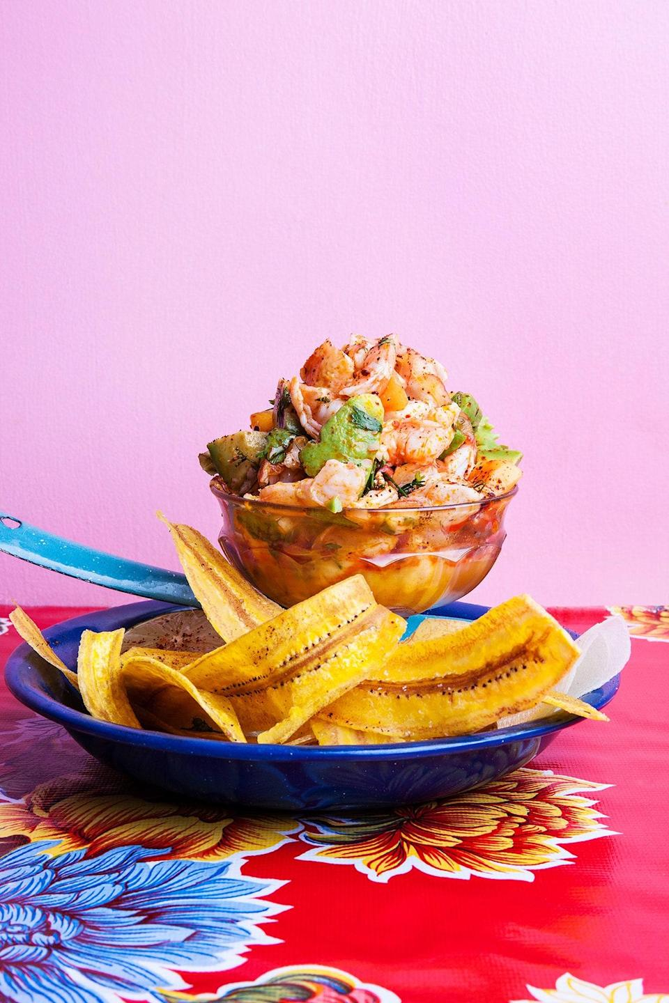 """""""As soon as it's above 80 degrees I want nothing to do with heating my food, so I'll be making this Red Snapper, Shrimp, and Watermelon Ceviche recipe, no fire required. Serving on any crispy vehicle like plantain, tortilla, cassava chips is super satisfying. And if anyone asks, yes, cooking with acid is still cooking!"""" <em>—Phillip Cheng, supervising producer</em> <a href=""""https://www.bonappetit.com/recipe/red-snapper-shrimp-and-watermelon-ceviche?mbid=synd_yahoo_rss"""" rel=""""nofollow noopener"""" target=""""_blank"""" data-ylk=""""slk:See recipe."""" class=""""link rapid-noclick-resp"""">See recipe.</a>"""