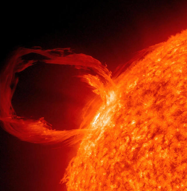 Solar storms see our planet buffeted by charged particles. Image shows a prominence on the sun in extreme UV light (Getty)