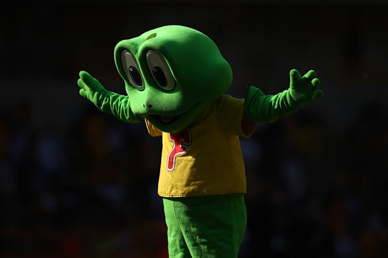WOLVERHAMPTON, ENGLAND - APRIL 20: Cadbury's Freddo Frog mascot is seen at half time of the Premier League match between Wolverhampton Wanderers and Brighton & Hove Albion at Molineux on April 20, 2019 in Wolverhampton, United Kingdom. (Photo by Marc Atkins/Getty Images)