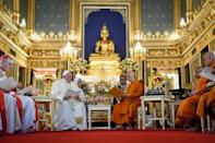 Francis paid a visit to the supreme Buddhist patriarch Somdej Phra Maha Muneewong at one of Bangkok's famed gilded temples