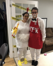 """<p>This duo is cookin' up something good, or at least, that's what their costumes imply.</p><p><a class=""""link rapid-noclick-resp"""" href=""""https://www.amazon.com/elope-Chicken-Costume-Plush-Headband/dp/B07C24CJJR/?tag=syn-yahoo-20&ascsubtag=%5Bartid%7C10072.g.27868801%5Bsrc%7Cyahoo-us"""" rel=""""nofollow noopener"""" target=""""_blank"""" data-ylk=""""slk:SHOP CHICKEN COSTUME"""">SHOP CHICKEN COSTUME</a></p>"""