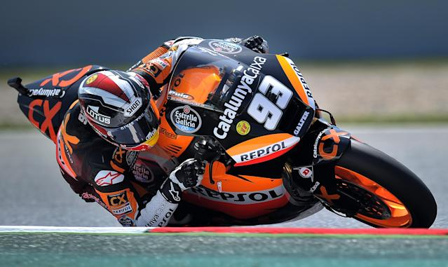 Team CatalunyaCaixa Repsol's Spanish Marc Marquez Takes a curve at the Catalunya racetrack in Montmelo, near Barcelona, on June 1, 2012, during the Moto 2 second training session of the Catalunya Moto GP Grand Prix. AFP PHOTO/LLUIS GENELLUIS GENE/AFP/GettyImages