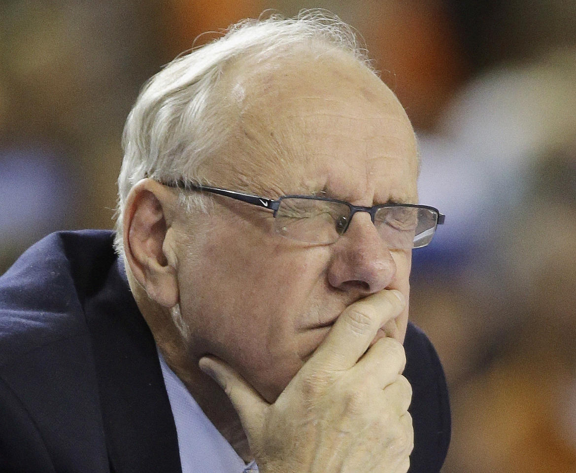 Syracuse head coach Jim Boeheim reacts to play against Michigan during the second half of the NCAA Final Four tournament college basketball semifinal game Saturday, April 6, 2013, in Atlanta. (AP Photo/David J. Phillip)