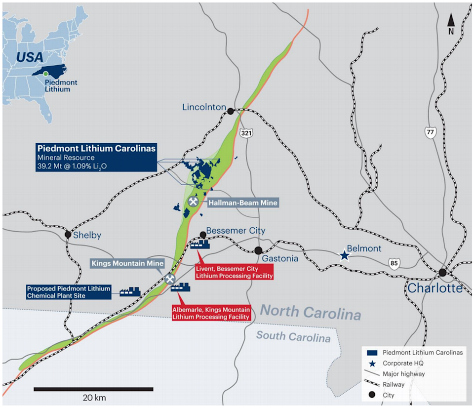 Piedmont Lithium included this map of its proposed Gaston County mining operation in a company report this past April.