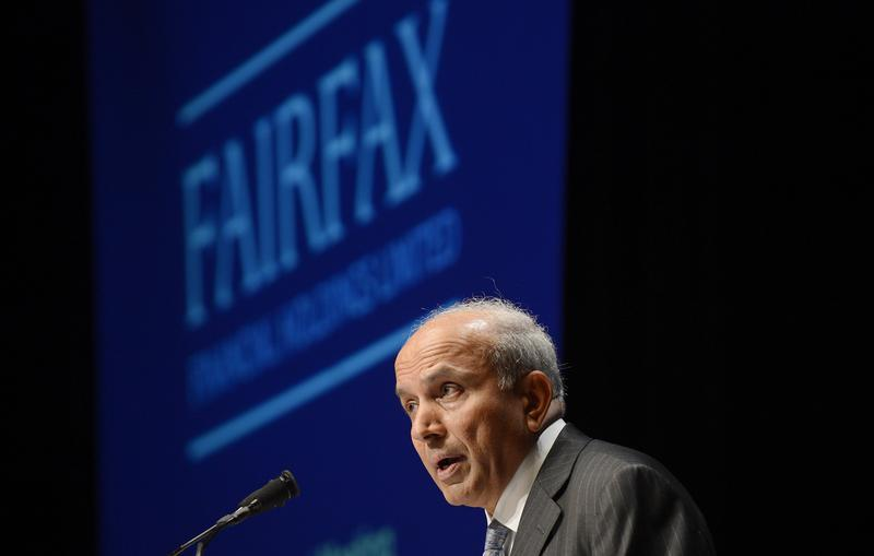 Fairfax Financial Holdings Ltd. Chairman and CEO Watsa speaks during the company's annual meeting in Toronto